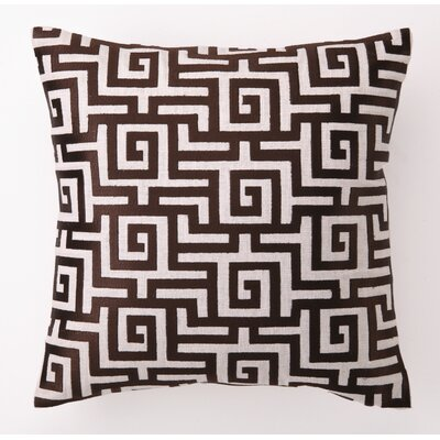 D.L. Rhein Greek Key Down Filled Embroidered Linen Pillow