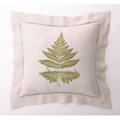 Fern Leaves II Down Filled Embroidered Linen Pillow