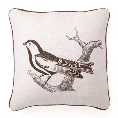 Sepia Bird II Down Filled Embroidered Linen Pillow