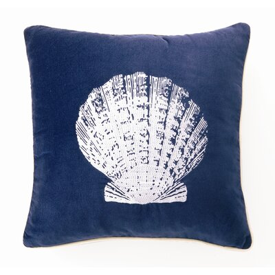 Scallop Down Filled Embroidered Velvet Pillow