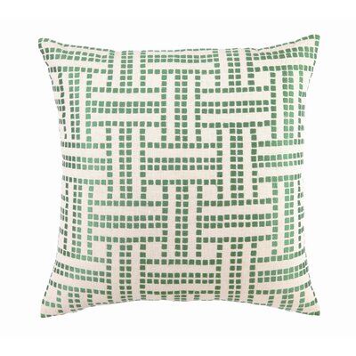 Basket Weave Down Filled Embroidered Linen Pillow