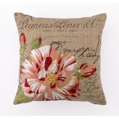 D.L. Rhein Candystripe Rose Down Filled Embroidered Pillow