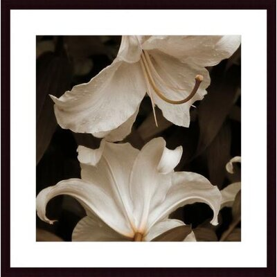 White Lilies Wood Framed Art Print