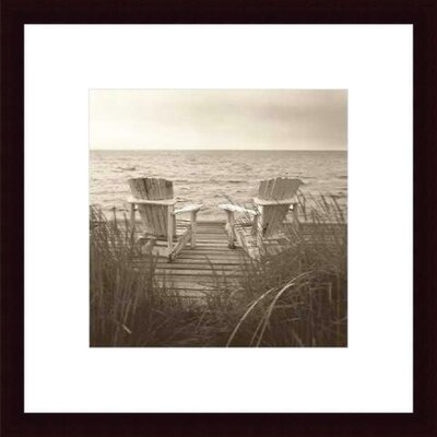 Beach Chairs by Christine Triebert Wood Framed Art Print