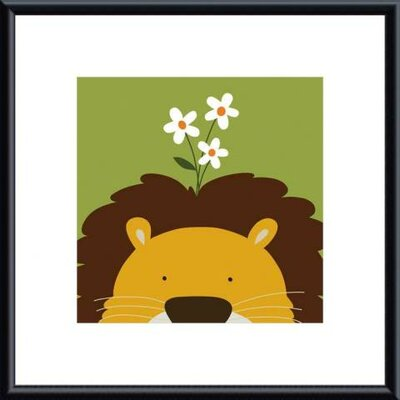 Barewalls Peek-A-Boo Lion by Yuko Lau Metal Framed Art Print