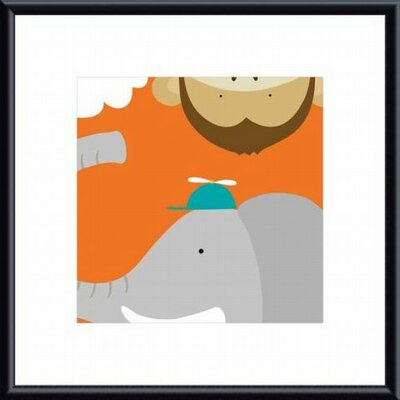 Barewalls Safari Group: Monkey and Elephant Metal Framed Art Print