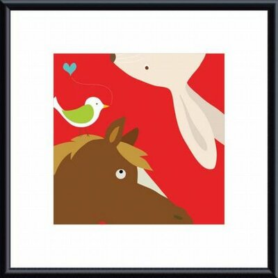 Farm Group: Rabbit and Horse Metal Framed Art Print