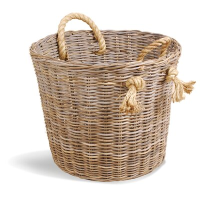 Oceans Apart Grey Rattan Kubu Laundry /  Log Basket