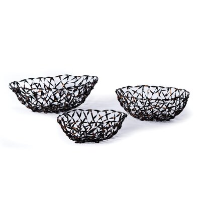 New Rustics Home Woven Accents Woven Metal Baskets (Set of 3)