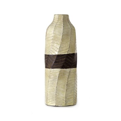 New Rustics Home Brown Banded Textured Vase