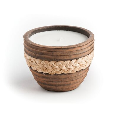 New Rustics Home Small Brown Candle with Wicker Accent