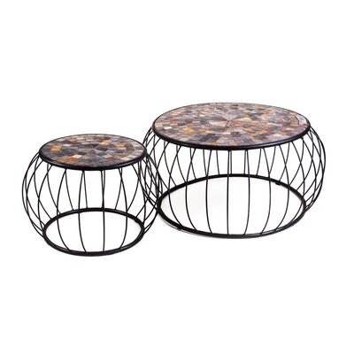 New Rustics Home Mosaic Cage Slate Coffee Tables (Set of 2)
