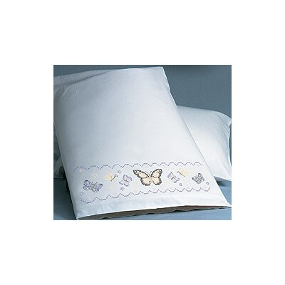 Janlynn XS Pillowcase Butterflies Stamped Cross Stitch Pair
