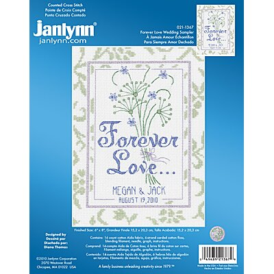 Janlynn Forever Love Wedding Sampler Counted Cross Stitch