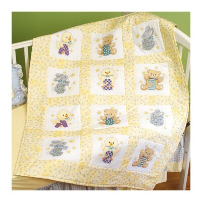 Janlynn ABC 123 X.S Quilt Blocks Stamped Cross Stitch