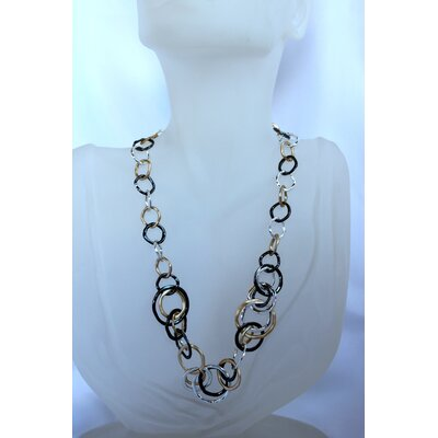 Tri-Tone Linked Ring Necklace
