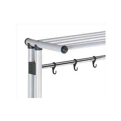 Peter Pepper Mobile or Freestanding Aluminum Coat Rack with 5 Hooks, Shelf, and Hanger Bar
