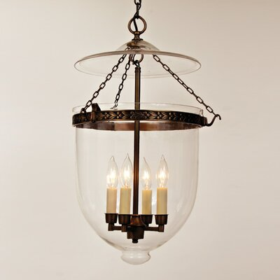 JVI Designs 4 Light Extra Large Bell Jar Foyer Pendant