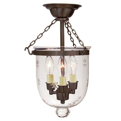 JVI Designs 3 Light Small Bell Jar Semi Flush Mount with Star Glass