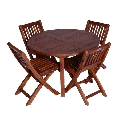 Classic Kids' 5 Piece Teak Table and Folding Chair Set
