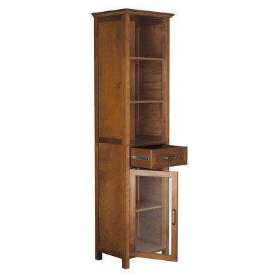 Elegant Home Fashions Avery Linen Cabinet with 1 Drawer and 3 open shelves
