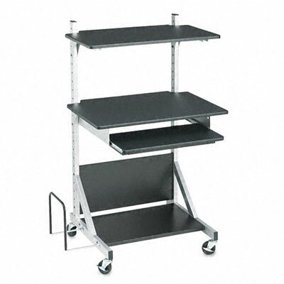 Balt Fully-Adjustable Mobile Workstation, 30 x 24 x 52, Black Laminate Top (Box Two)