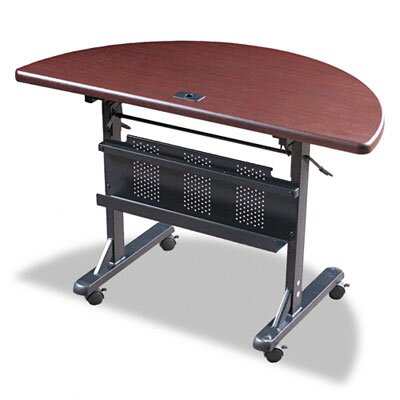 Balt Flipper Training Table, Half-Round, 48w x 24d x 29-1/2h, Mahogany