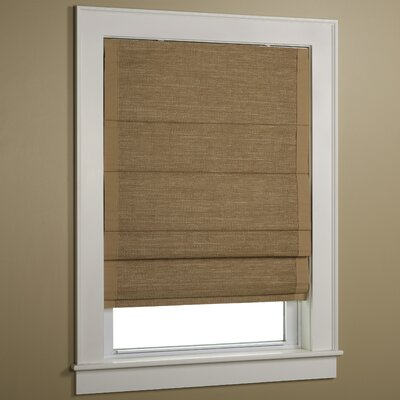 Green Mountain Vista Woven Cane Paper  Roman Shade with Border