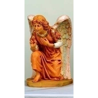 "Fontanini 27"" Scale Kneeling Angel Figurine with Pink Gown"