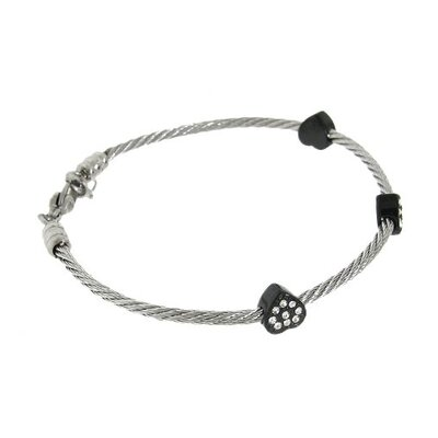 Moise Two-Tone Twisted Wire Crystal Heart Bracelet