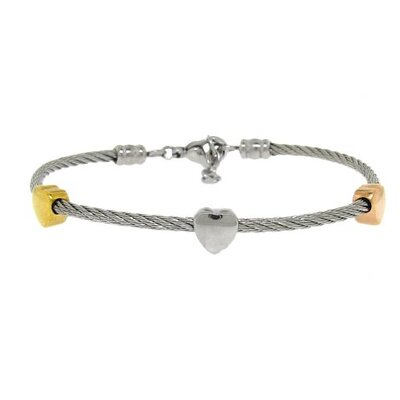 Two-Tone Twisted Wire Heart Bracelet