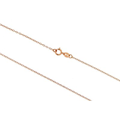 Italian Silver Rose Plated Rolo Chain Necklace