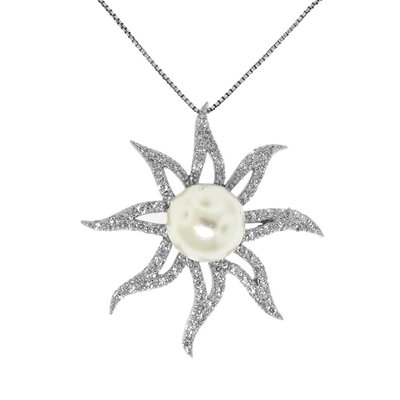 Sterling Silver Sun Faux Pearl and Cubic Zirconia Pendant Necklace