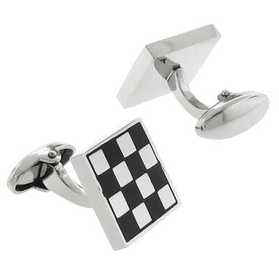Stainless Steel Silver-Tone Checkered Design Square Cufflinks