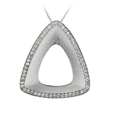 Sterling Silver Clear Cubic Zirconia Cutout Triangle Necklace