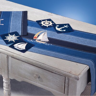 Rightside Design I Sea Life Embroidered Sailboat Table Runner with Ships Wheel Placemat (Set of 4)
