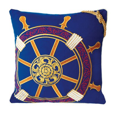I Sea Life Embroidered Nautical Ships Wheel Pillow