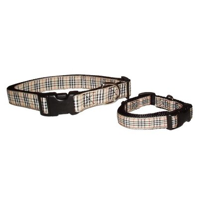 A Pet's World Tan Plaid Adjustable Dog Collar
