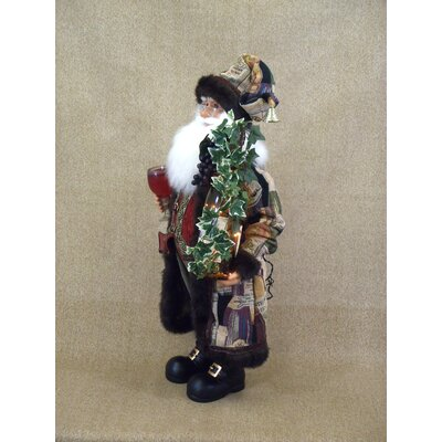 Karen Didion Originals Crakewood Lighted Wine Santa Claus Figurine