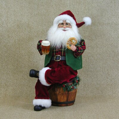 Karen Didion Originals Crakewood Beer Barrel Santa Claus Figurine