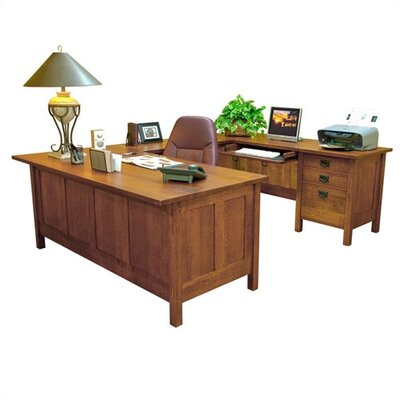 "Anthony Lauren Craftsman Home Office 72"" W U-Executive Desk with Return"