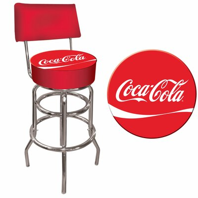 Trademark Global Coca Cola Pub Bar Stool with Cushion