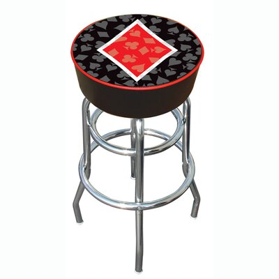 "Trademark Global 30"" Four Aces Diamond Logo Padded Bar Stool"