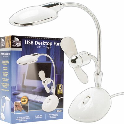 Trademark Global 2 in 1 Laptop Desk LED Lamp and Fan in White