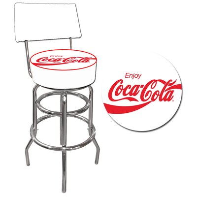 Trademark Global Enjoy Coca Cola White Pub Stool with Back
