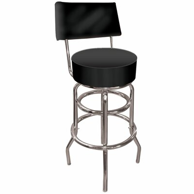 High Grade Padded Bar Stool with Back in Black