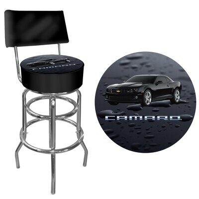 Trademark Global Black Camaro Swivel Bar Stool with Cushion
