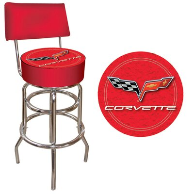 Trademark Global Corvette C6 Padded Bar Stool with Back Rest in Red