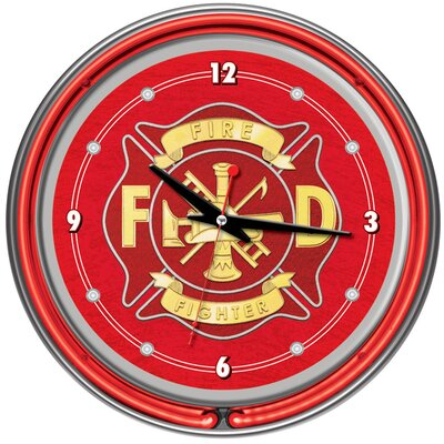 "Trademark Global Fire Fighter 14"" Neon Wall Clock"