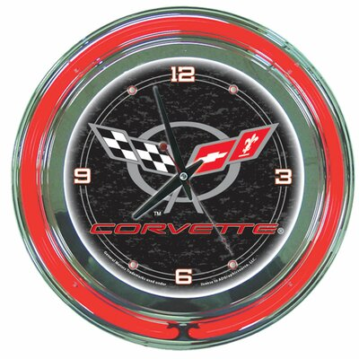 "Trademark Global Corvette C5 14"" Neon Wall Clock in Black"